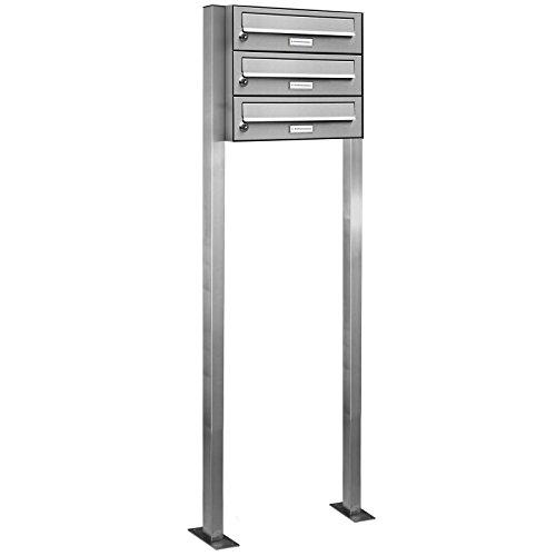 AL Briefkastensysteme 3er V2A Edelstahl Stand Briefkasten rostfrei als 3 Fach Briefkastenanlage Freistehend DIN A4 in Postkasten Design modern