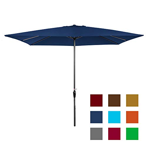 Best Choice Products 8x11ft Rectangular Patio Umbrella w/Crank, Fade-Resistant 210G Polyester Fabric - Tan