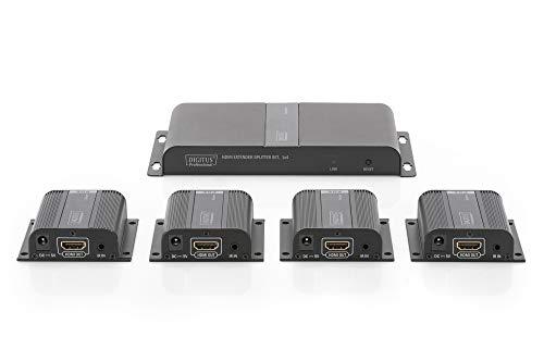 DIGITUS HDMI Extender Set, Reichweite 70 m, HDBaseT, HDCP 2.2, UHD 60 Hz, IR und RS232 (bidirektional), PoE/PoH, Punkt zu Punkt Verbindung, Schwarz