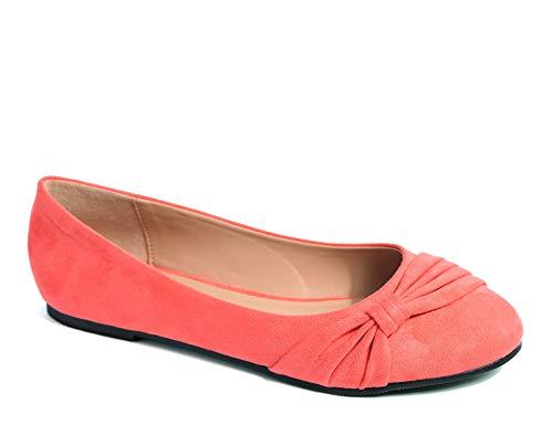MaxMuxun Damen Geschlossene Schleife Beqeueme Office Beruf Flache Schuhe Koralle Größe 40 EU