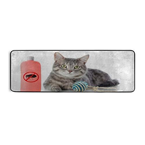 LCXIA Extra Long Bathroom Runner Rug Non-Slip Microfiber Bath Mat Rug Runner for Bathroom Absorbent Kitchen Floor Rug Machine Washable, Cat Bottle Flea Shampoo On White 24 72 Inches