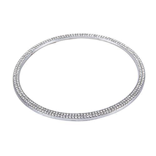 Auto decoratieve ring mode auto aluminium stuurwiel decoratie ring met diamanten, geschikt voor Audi zilver