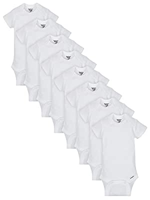 Gerber Baby 8 Pack Short-Sleeve Onesies Bodysuits, White Organic, Newborn
