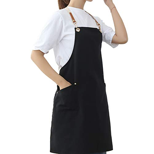 Aprons for Women Men with Pockets Cute Baking BBQ Artist Grilling Cooking Stylist Cosmetology Work Water Drop Resistant Cross Back Adjustable Canvas Kitchen Aprons for Chef Shop Gardening Apron