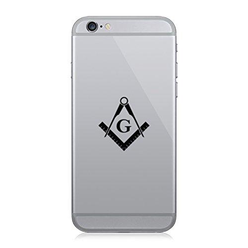 RDW Pair of Freemasonry Emblem Cell Phone Stickers Mobile Freemason Masonic - Black