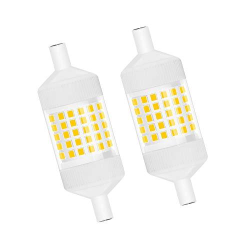Bonlux Regulable 10w R7S Bombilla 78MM con 1000LM, LED Lineal Reemplazo de 100w Bombilla Halógena, Iluminación de 360 Grados(Luz Blanca Cálida 2700K, 2-Unidades)