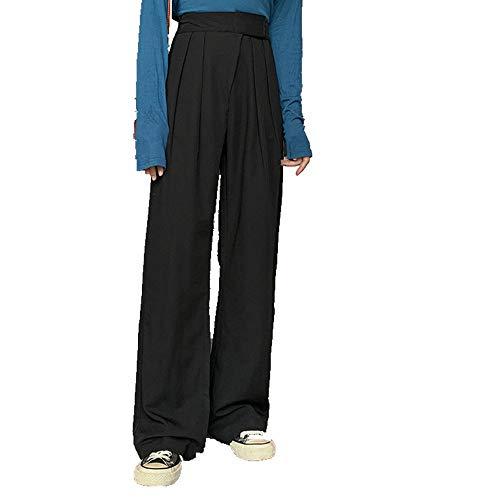 N\P Pantalones de chándal de las Mujeres Ropa de Pierna Ancha, Harajuku Baggy Negro de Talle Alto, Vintage Pantalones Rectos