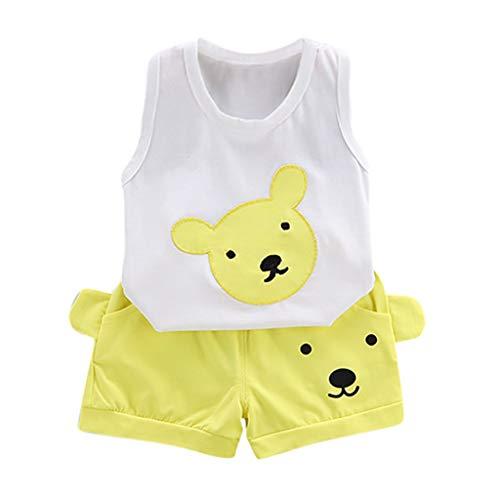 wuayi Ensemble de Tenue pour Bébé Garçon, Bébé sans Manches Ourson Imprimer Gilet + Shorts Vêtements d'été Vêtements Enfant 6 Mois - 4 Ans