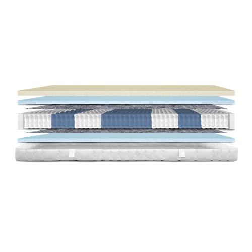 AM Qualitätsmatratzen - Premium Visco-Matratze 100x200cm H3-1000 Federn - Taschenfederkernmatratze - Matratze mit integrierter 6cm Visco-Auflage - 24cm Höhe - Made in Germany