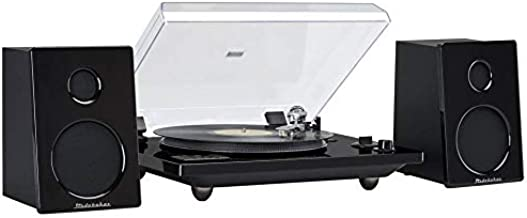 Hi-Fi Record Player Turntable with Audio Technica (AT) Magnetic Cartridge Home Music System 30 Watt RMS Powered Speakers Bluetooth for External Devices USB Recording Turn Old Records to MP3 Studebaker