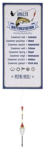 G.H. Wetterstein, Wetterstation als Aluschild, Modell Angler mit Schwimmer, Material Metall, Maße Schild 30 x 14 cm