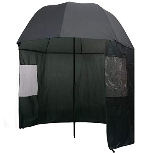 vidaXL Parapluie Portable de pêche Parapluie pour pêcheur Vert foncé 300x240 cm