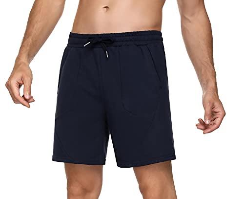 Sykooria Pantalon Corto Hombre Deporte, 100% Algodón Shorts Deportivos Hombre con 4 Bolsillos, Ligero Transpirable Atletismo Shorts para Baloncesto, Jogging, Gimnasio y Trabajos, L