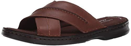 Clarks Men's Malone Cross Sandal, Tan Leather, 70 M US