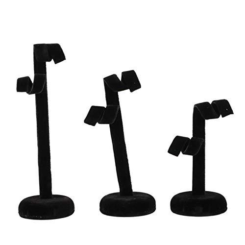 DAUERHAFT Espositore per Gioielli 3 Pezzi/Set Decorazione da scrivania, per Ufficio in casa, per la visualizzazione di Orecchini a Bottone(Black)