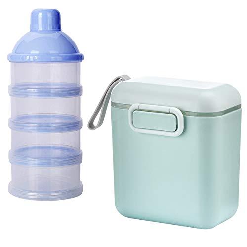 Milch Pulver Spender,Xiuyer Formel Milchpulver-Portionierer für 4 Schicht & 800ml Tragbare Milchkasten Säuglingsnahrung Behälter mit Schaber Löffel für Zuhause Reise(Blau & Grün)