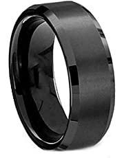Black ring Titanium Steel Steel US size 8