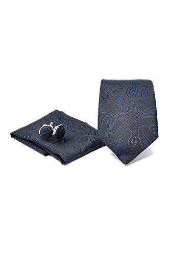Oxford Collection Coffret Ensemble Cravate Homme, Mouchoir de Poche, Boutons de Manchette Motif Cachemire/Paisley Bleu Foncé - 100% en Soie - Classiqu