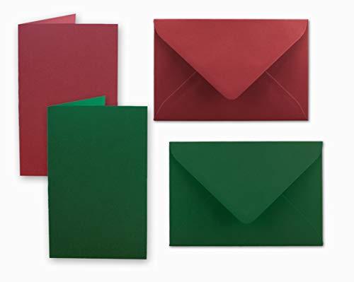 SCHEDA pacchetto DIN A6/C6| Rosso scuro/verde scuro | biglietti con piega A6–10,5x 14,8cm & buste C6–11,5x 16cm | Ideale per Natale, biglietti d' auguri e inviti