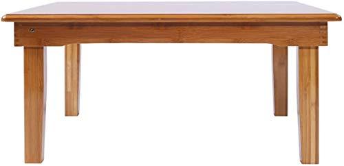 Tavolo Legno di bambù Naturale Pieghevole, Soggiorno Balcone Piazza Piccola Tavolino Pieghevole Ispessimento Rinforzo Fold scrivania, L60 * W40 * H27cm