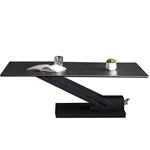 HMBB Consola convertible Mesa de estantería Mesa de comedor Estantes de la consola Pizarra y metal Mesa de comedor Liftable 53x28x29 pulgadas (negro)