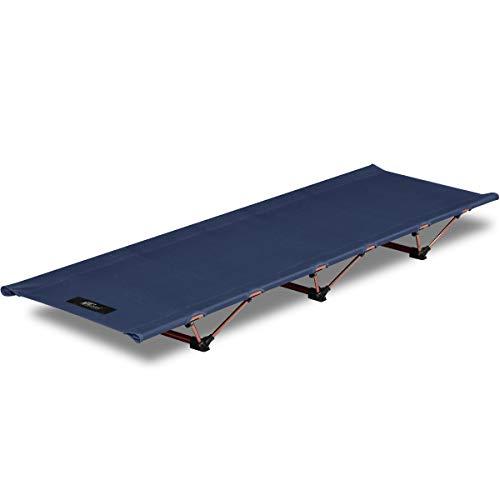 FIELDOOR アルミコンパクトコット 【ブルー】 アウトドア 収納バッグ付 耐荷重150kg キャンプベッド ベンチ 折りたたみ式 簡単 軽量