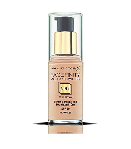 3 x Max Factor Face Finity All Day Flawless 3 in 1 Foundation - Natural 50 30ml