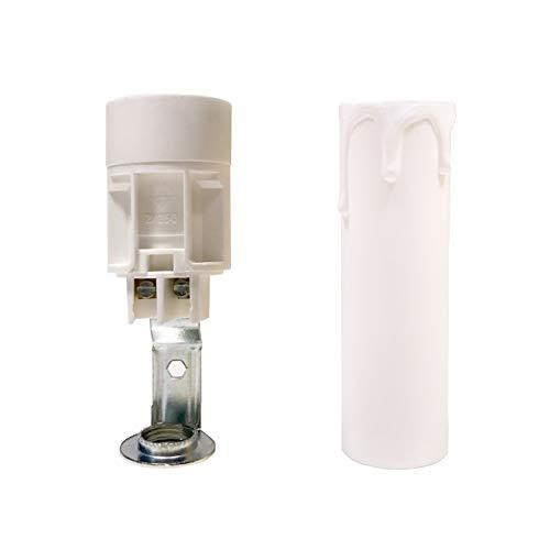 Funda tipo vela color blanca corta efecto gotas cera - Accesorios para lámparas