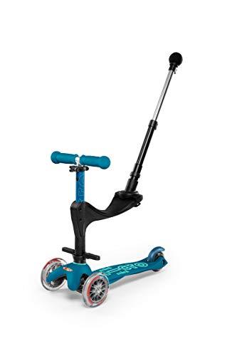 Micro-Mobility - Trottinette Mini 3-en-1 Deluxe Bleu Glacial - Trottinette Enfant Évolutive 3 Roues - Barre de poussée - Repose Pied - Siège en Mousse - Navigation par Transfert de Poids