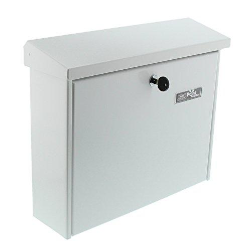 BURG-WÄCHTER Briefkasten, A4 Einwurf-Format, EU Norm EN 13724, Inkl. 2 Schlüsseln, Verzinkter Stahl, Journal 5867 W, Weiß