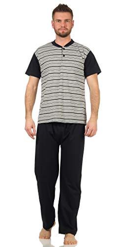 Herren Lange Pyjama Schlafhose und Shirt kurz-arm Schlafanzug Nachthemd, Grau-820 L
