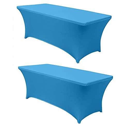 Kokomimi – Juego de 2 manteles de mesa rectangulares elásticos, funda de mesa extensible de licra, para bodas, banquetes, salones, conferencias, color azul claro – 6FT(183 x 76 x 76 cm)
