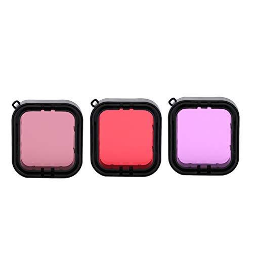 DAUERHAFT Juego de filtros de Buceo Filtro de cámara Rosa Resistente a los arañazos Impermeable 3 Piezas Rojo, para cámara de acción Gopro Hero 5/6
