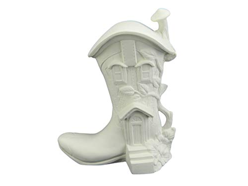 Fairy House - Fairy Cottage Boot Ready to Paint (Unpainted) Ceramic Bisque by Doc Holliday - Handcrafted in The USA
