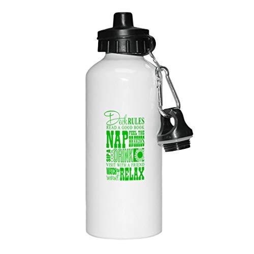 aqf527907 Green Deck Rules Read Good Book Siestes Breezes Cool Drink Botella de agua de aluminio, color blanco para la escuela, cumpleaños, para hombres, mujeres