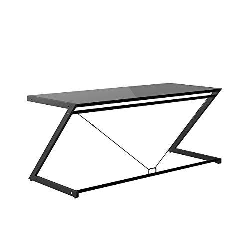 Certeo - Mesa de escritorio (730 x 1800 x 760 mm, tablero DM lacado), color negro