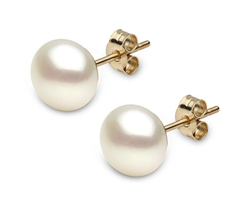 Kimura Pearls Button Shaped 10mm Cultured Freshwater Pearl Stud Earrings in 9ct Yellow Gold