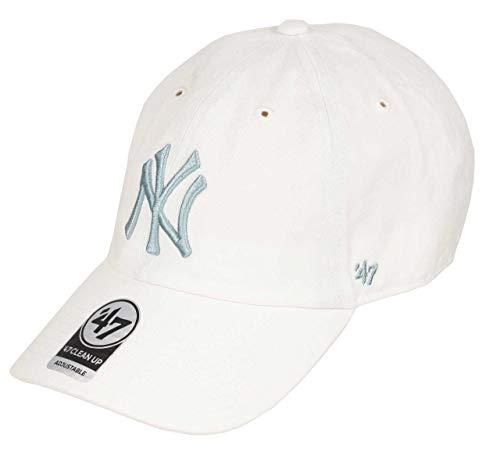 Gorra curva blanca con logo azul de New York Yankees MLB Clean Up de 47 Brand - Blanco, Talla única