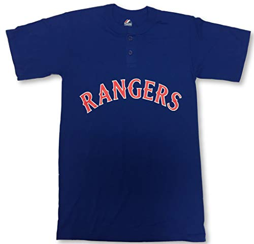 Majestic Texas Rangers Two-Button Men's Jersey Shirt Small