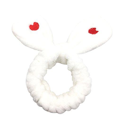 Vikenner Bandeau en Velours Corail Souple Bandeau de Maquillage pour Femme Turban Bandeau pour Cheveux Oreilles de Lapin Pince à Cheveux Mignon Tissue – Rose, Blanc, 12 cm