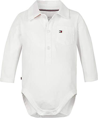Tommy Hilfiger Baby Poplin Collar Body L/S Canotta per Bambino e Neonato, Bianco, 92 cm Bimbo