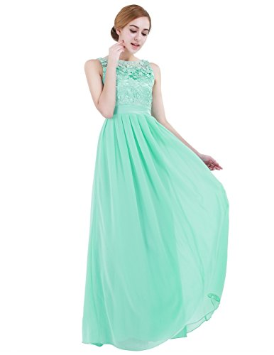 iEFiEL Summer Wedding Floral Lace Crochet Bridesmaid Chiffon Dress Evening Gown Turquoise 14