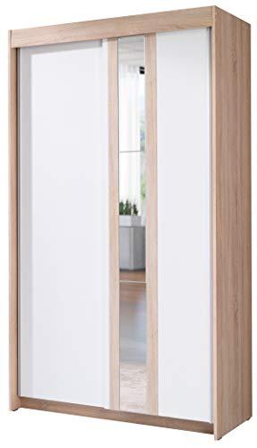 FurnitureByJDM - Moderne garderobekast 2 schuifdeuren - BELT - met spiegel. Breedte: 120cm Hoogte: 216cm Diepte: 60cm - (Eiken Sonoma / Wit)