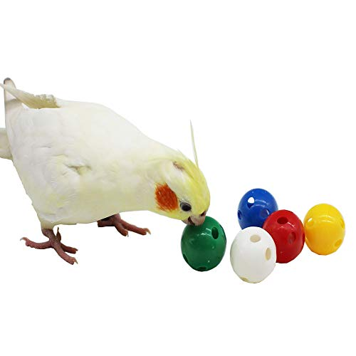QBLEEV 5 Pack Bird Bell Balls Sets for Chewing Playing TrainingColorful Parrot Cage Treat Toy for Cockatiel Parakeet Conure BudgieSmall Pet Foot Talon Toy for Parrot Kitten PuppyRandom Color