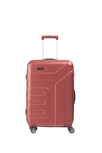 travelite 4-Rad Koffer Größe M mit Dehnfalte + TSA Schloss, Gepäck Serie VECTOR: Robuster Hartschalen Trolley in stylischen Farben, 072048-88, 70 cm, 79 Liter (erweiterbar auf 91 Liter), koralle (rot)