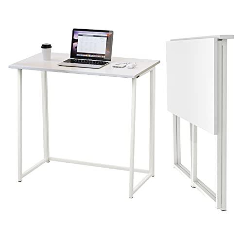 Dripex Mesa Escritorio Plegable, Mesa Ordenador, Compacto sin ensamblaje, Mesa de Estudio Plegable para Casa Oficina, Escritorio para computadora Manualidades, Mesa Blanco, 80 x 45 x 74 cm