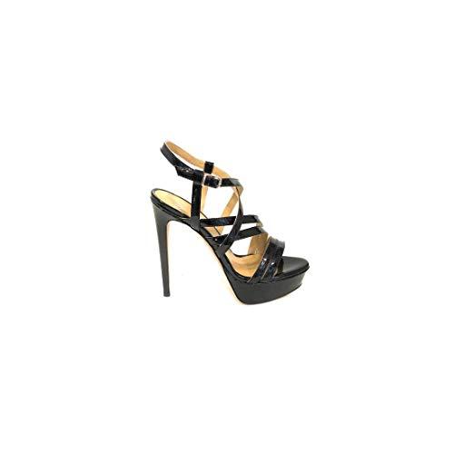 WO MILANO 914 - Sandalo donna vernice con fascette incrociate tacco 13 cm e plateau 3 cm (37 - VERNICE NERA)