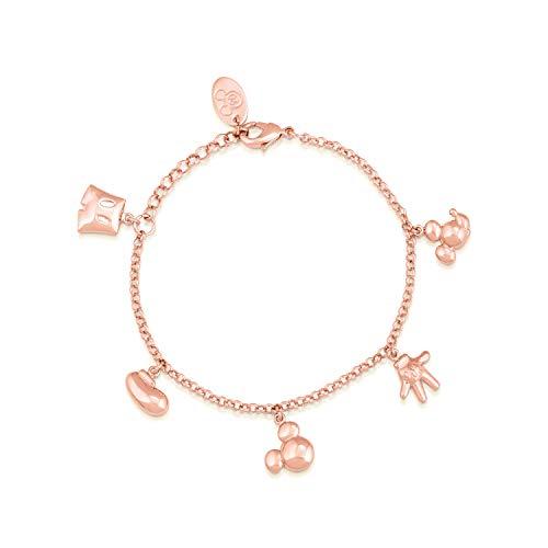 Disney Mickey Mouse - Pulsera de abalorios chapada en oro rosa