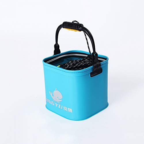 Kirlin バッカン 釣り用バケツ 折りたたみバケツ 水汲みバケツ EVA素材 持ち運び簡単 アウトドア 釣り 洗車 洗濯用 サイズ 24*24*20cm 容量約11L (ブルー)