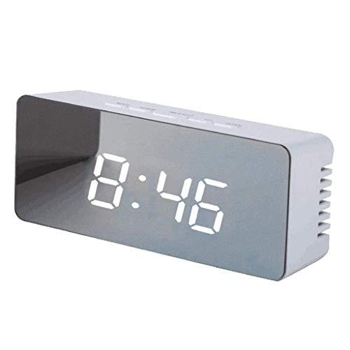 Despertador Digital Portátil Decorativo Espejo Función de repetición 12/24 Horas Mesa de conversión Dormitorio Oficina Batería Recargable Doble Uso 5.5 Pulgadas